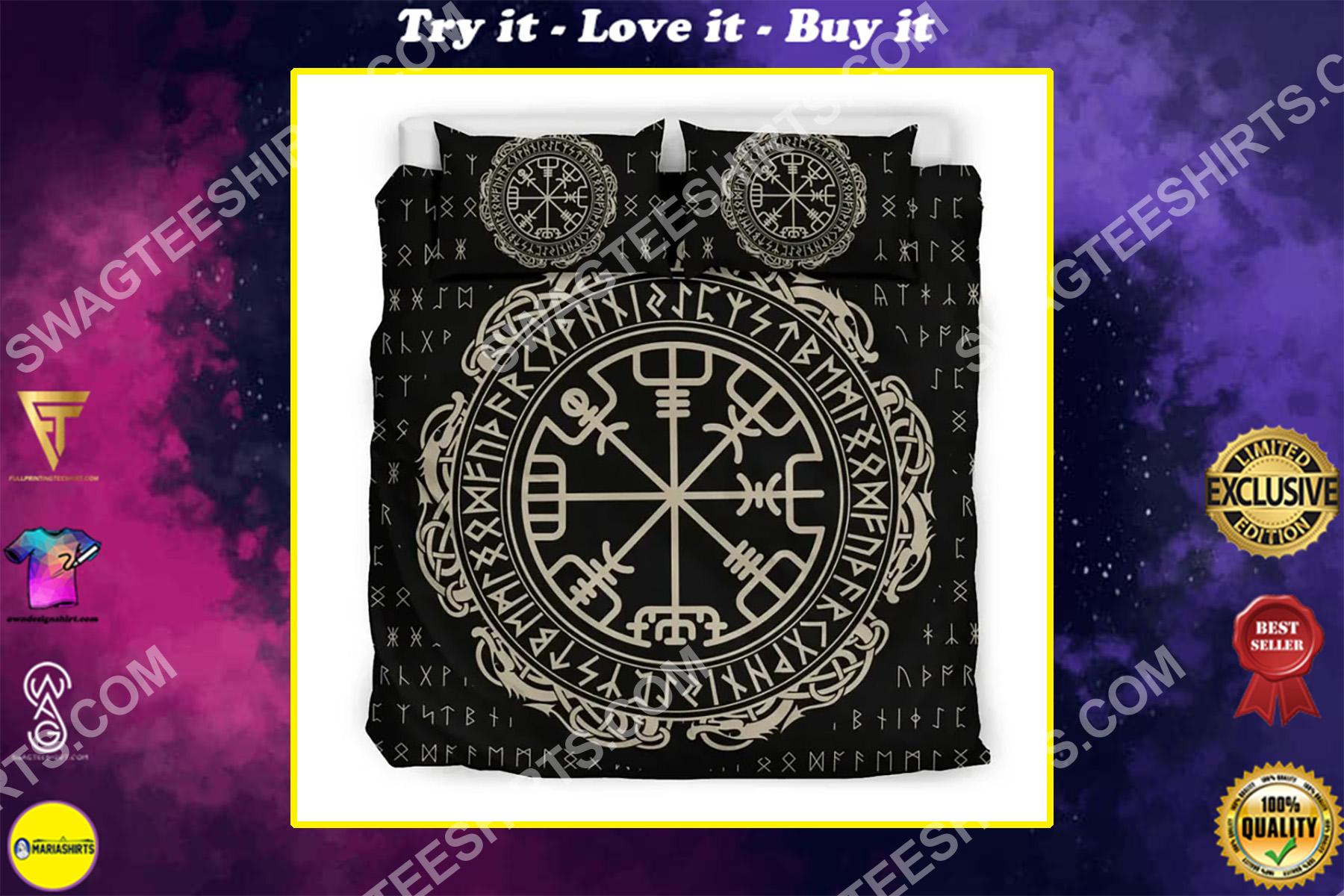 the viking symbols all over printed bedding set