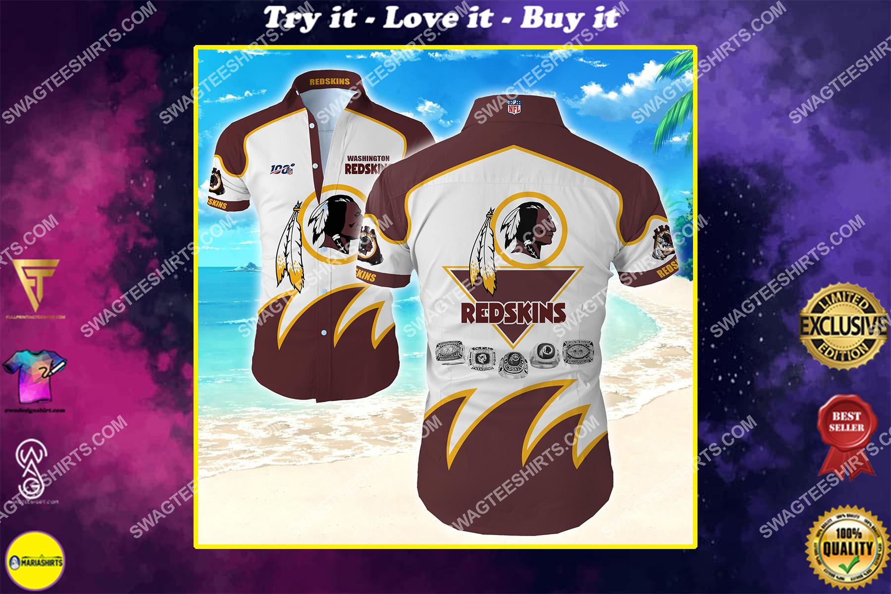 the washington redskins team full printing hawaiian shirt