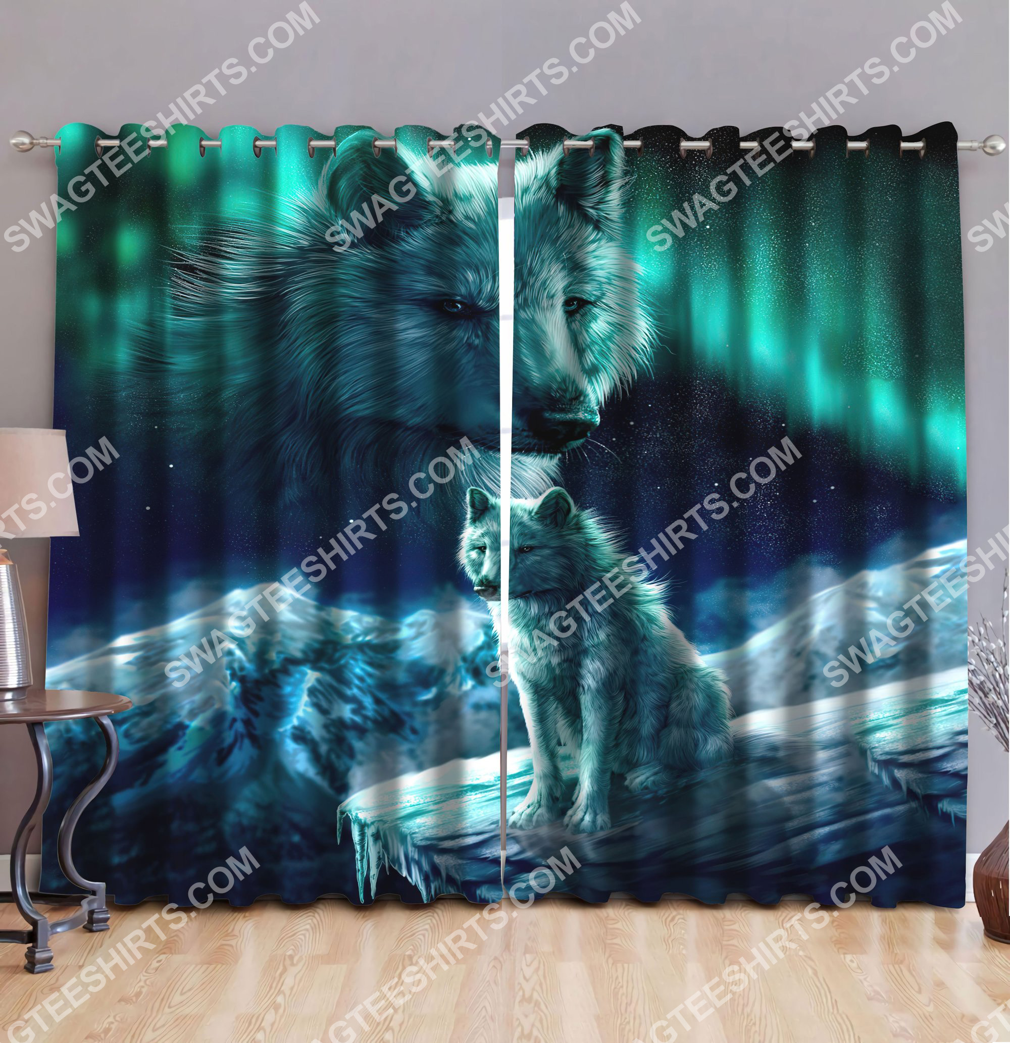 the wolf galaxy all over printed window curtains 2(1)