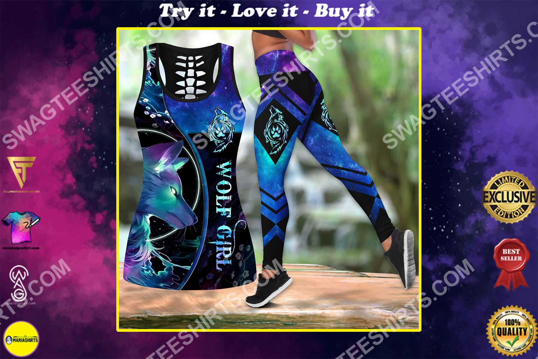 the wolf girl all over printed set sports outfit