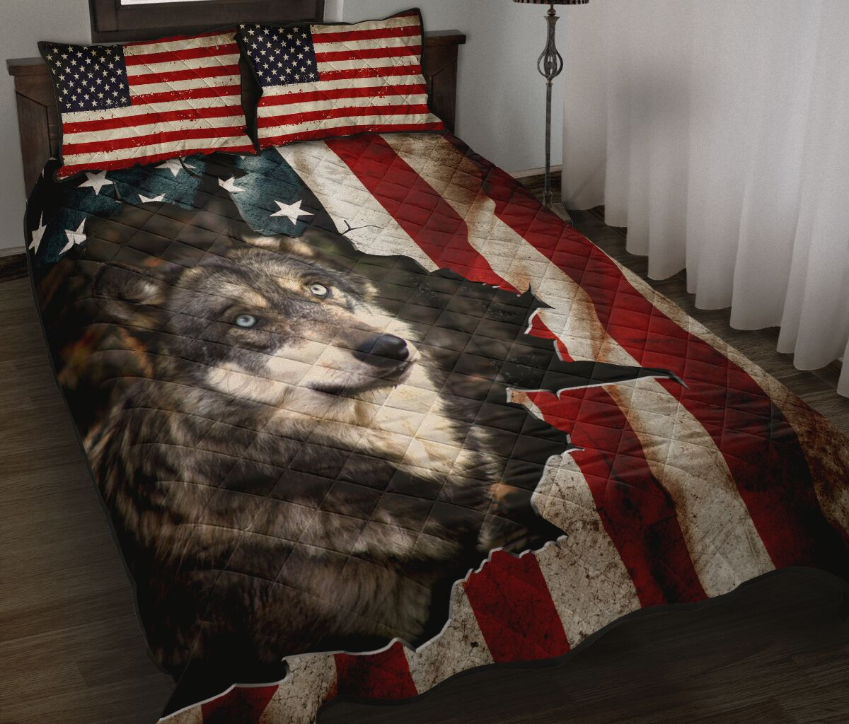 the wolf in american flag full over print quilt 2