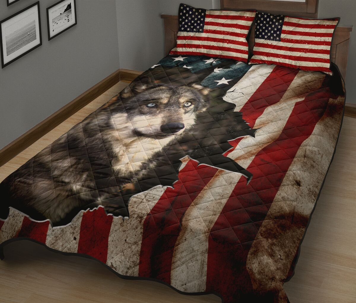 the wolf in american flag full over print quilt 3