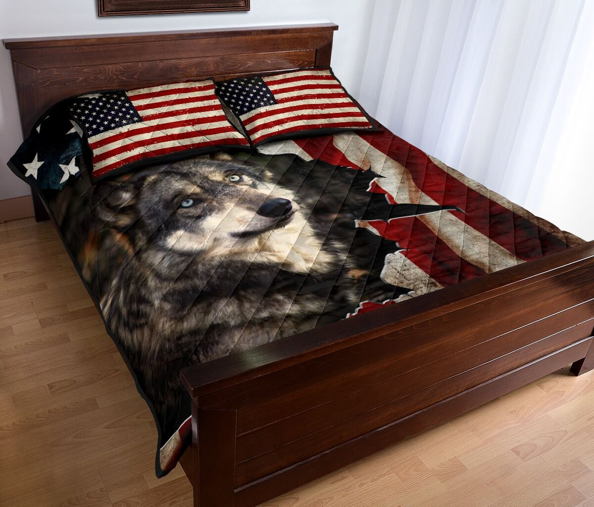 the wolf in american flag full over print quilt 4