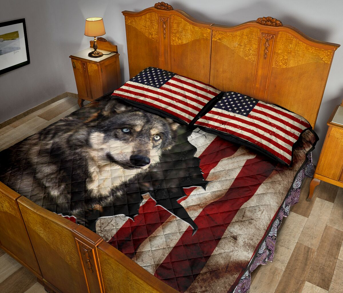 the wolf in american flag full over print quilt 5