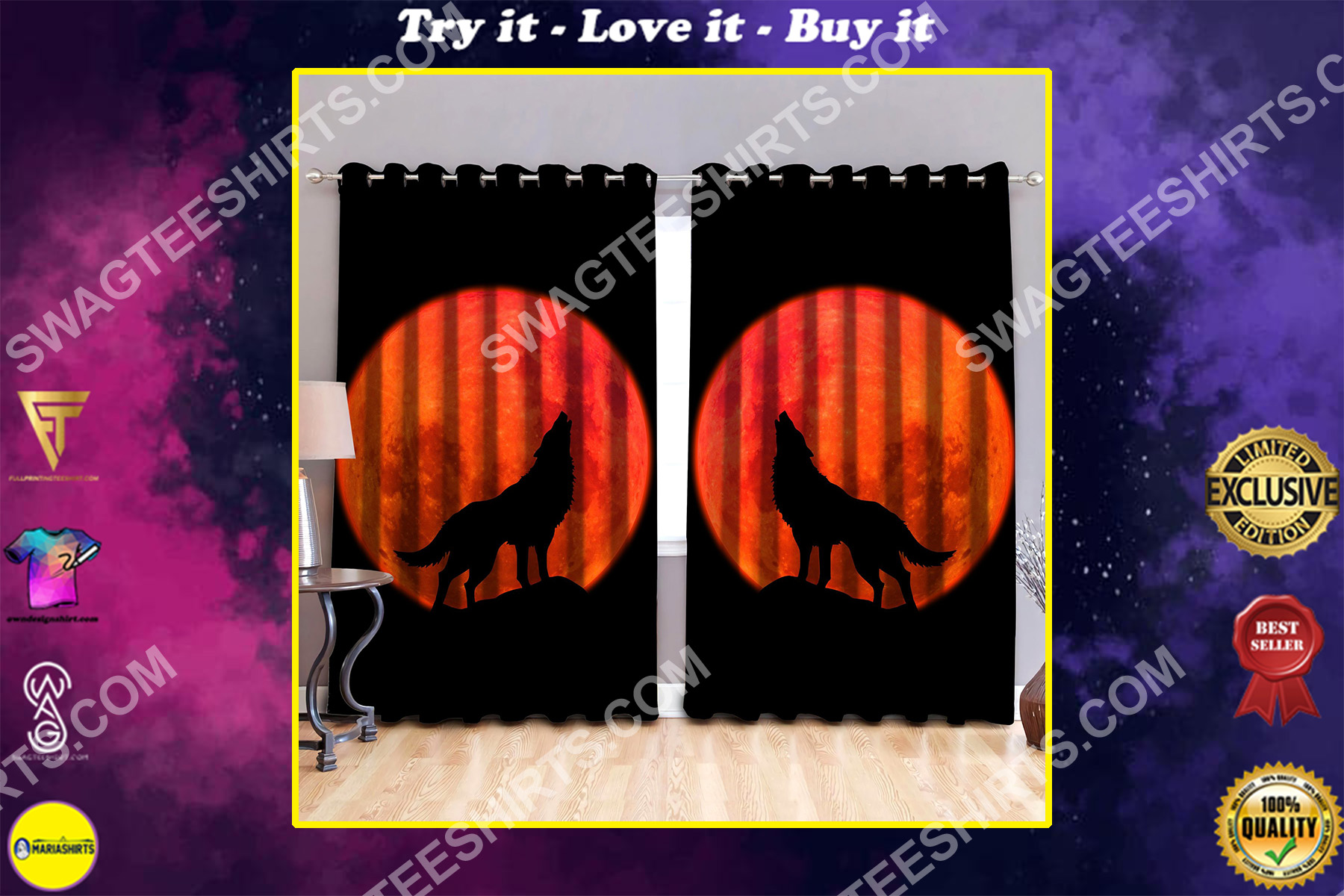 the wolf in moon all over printed window curtains
