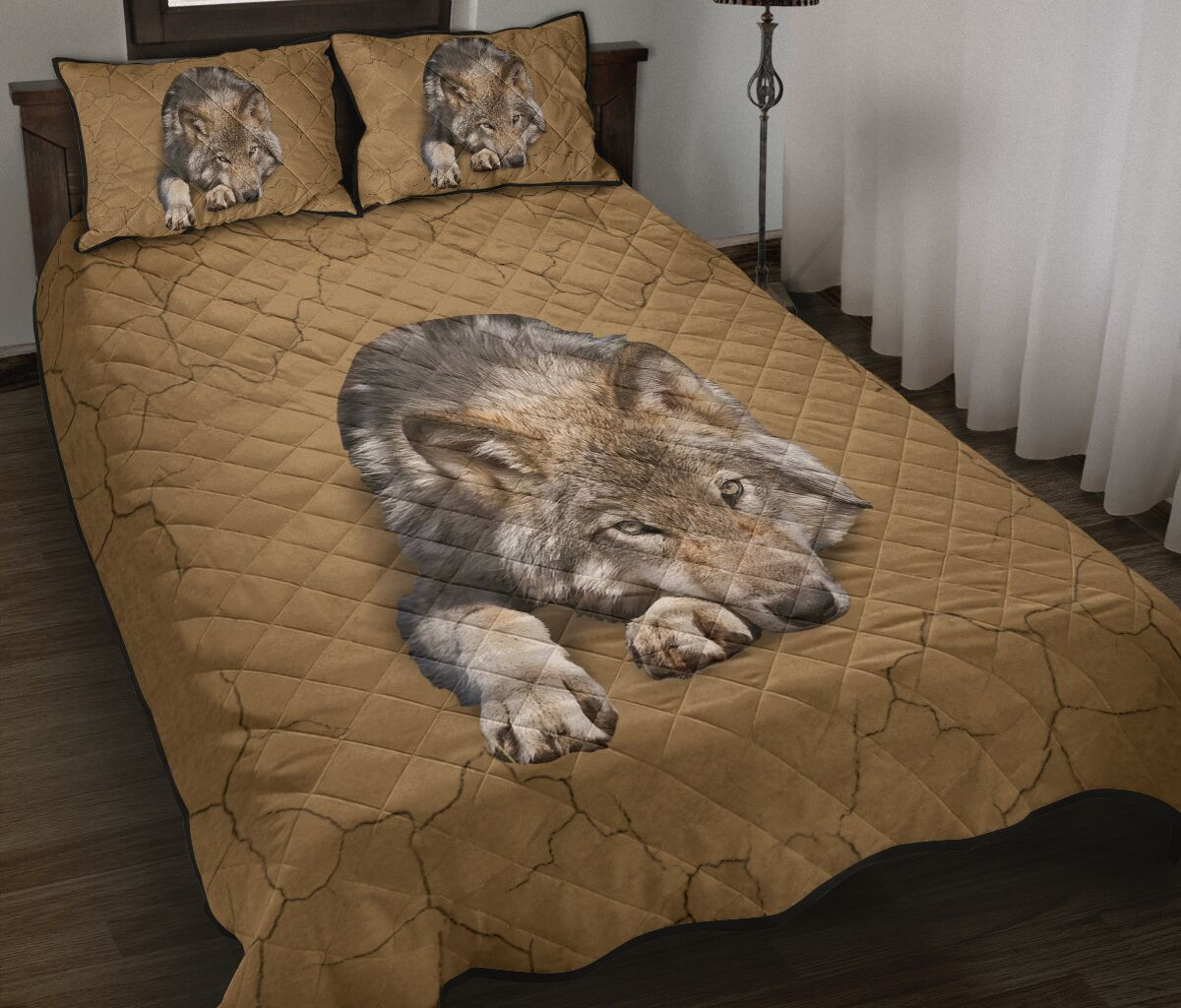 the wolf in my bed full over print quilt 2