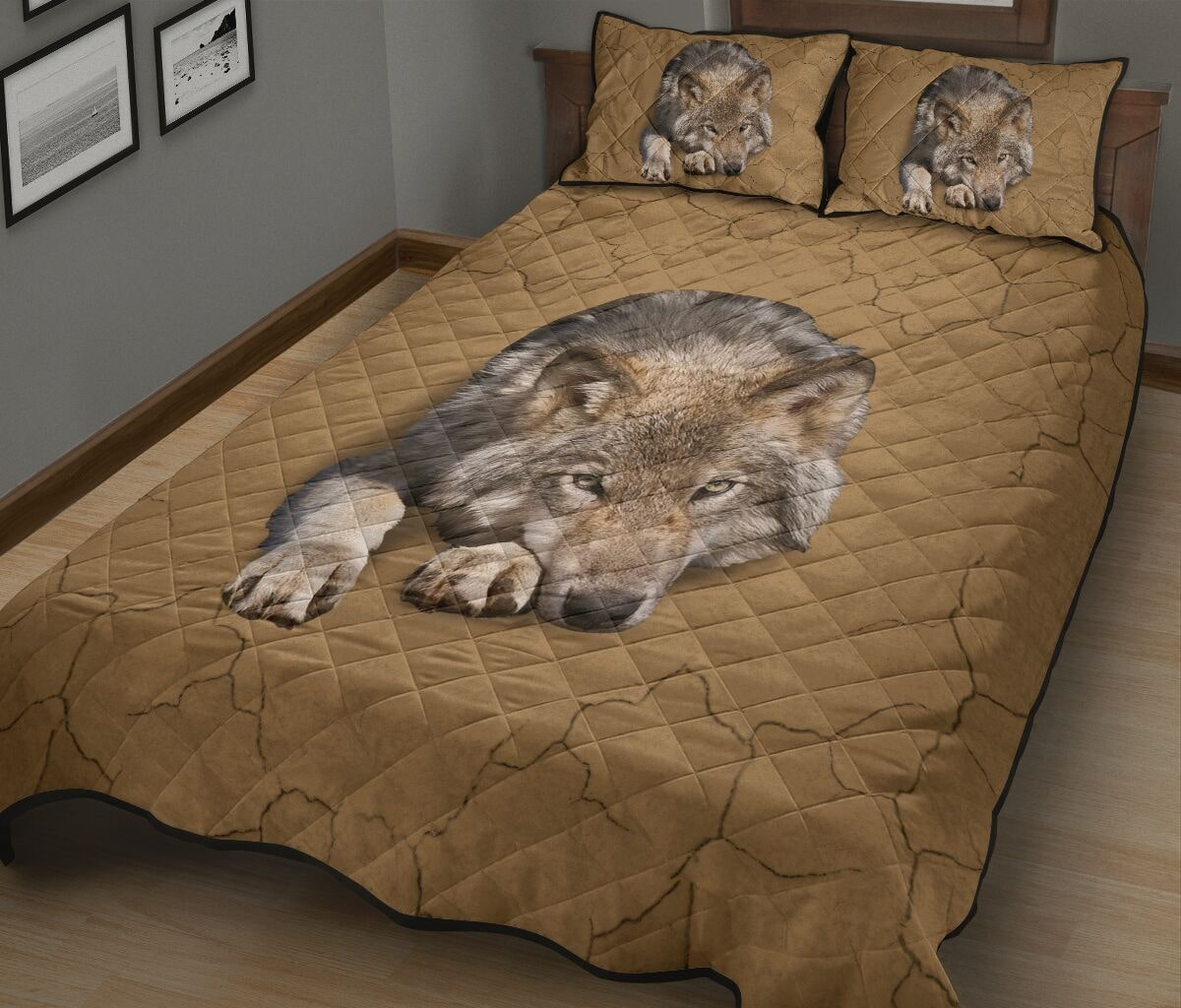 the wolf in my bed full over print quilt 3
