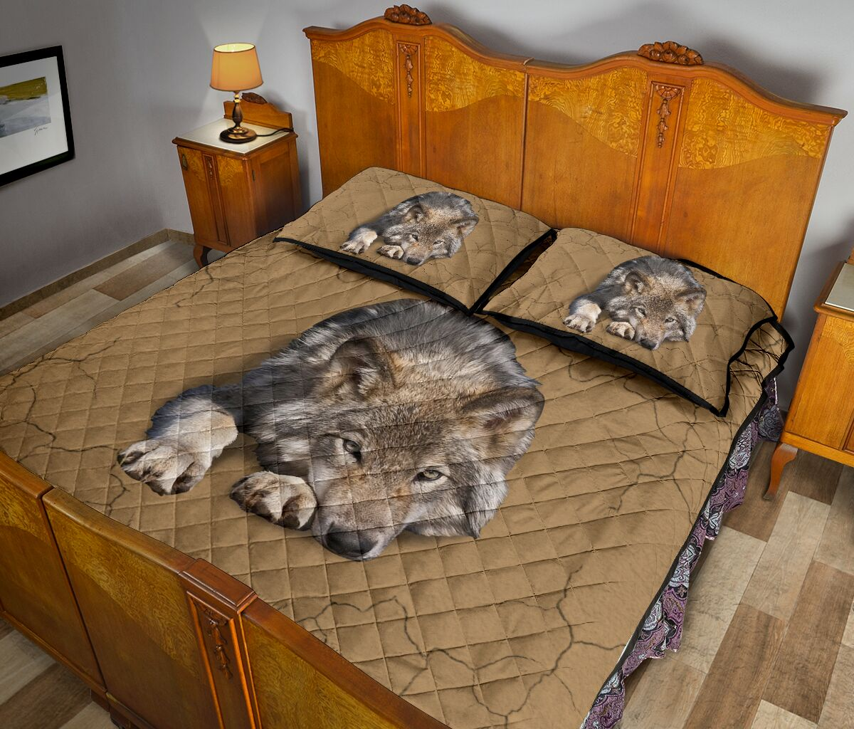 the wolf in my bed full over print quilt 4