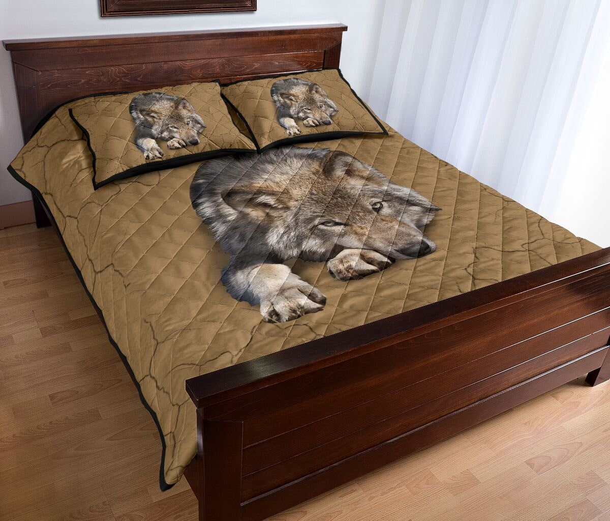 the wolf in my bed full over print quilt 5