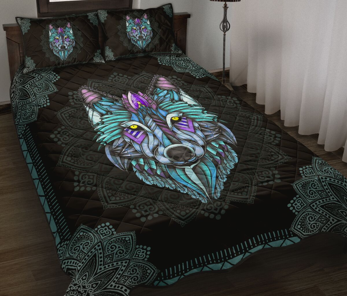 the wolf in the night mandala full over print quilt 2