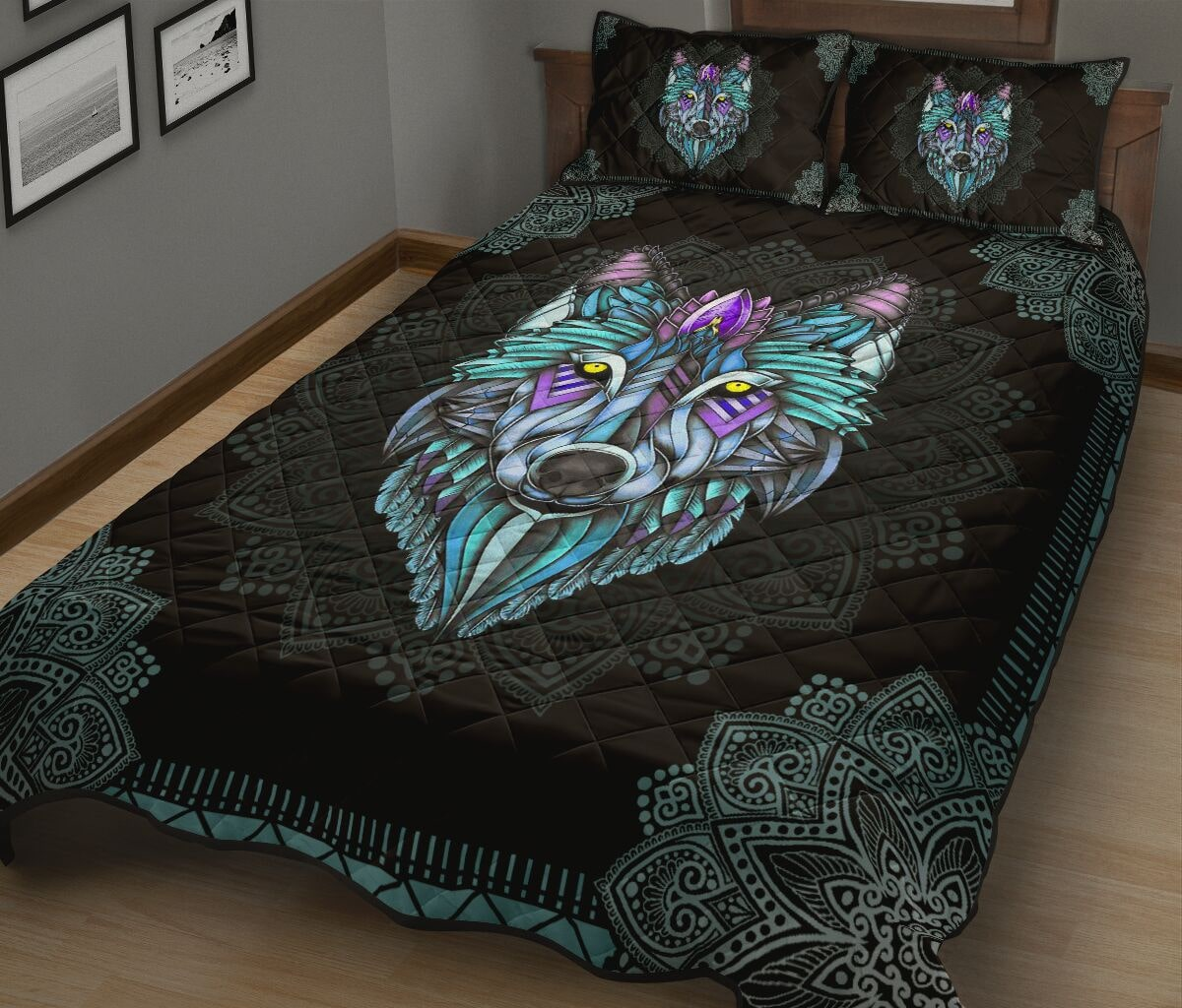 the wolf in the night mandala full over print quilt 3