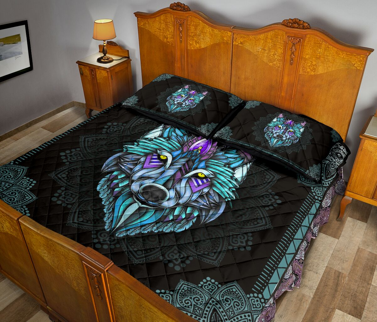 the wolf in the night mandala full over print quilt 5
