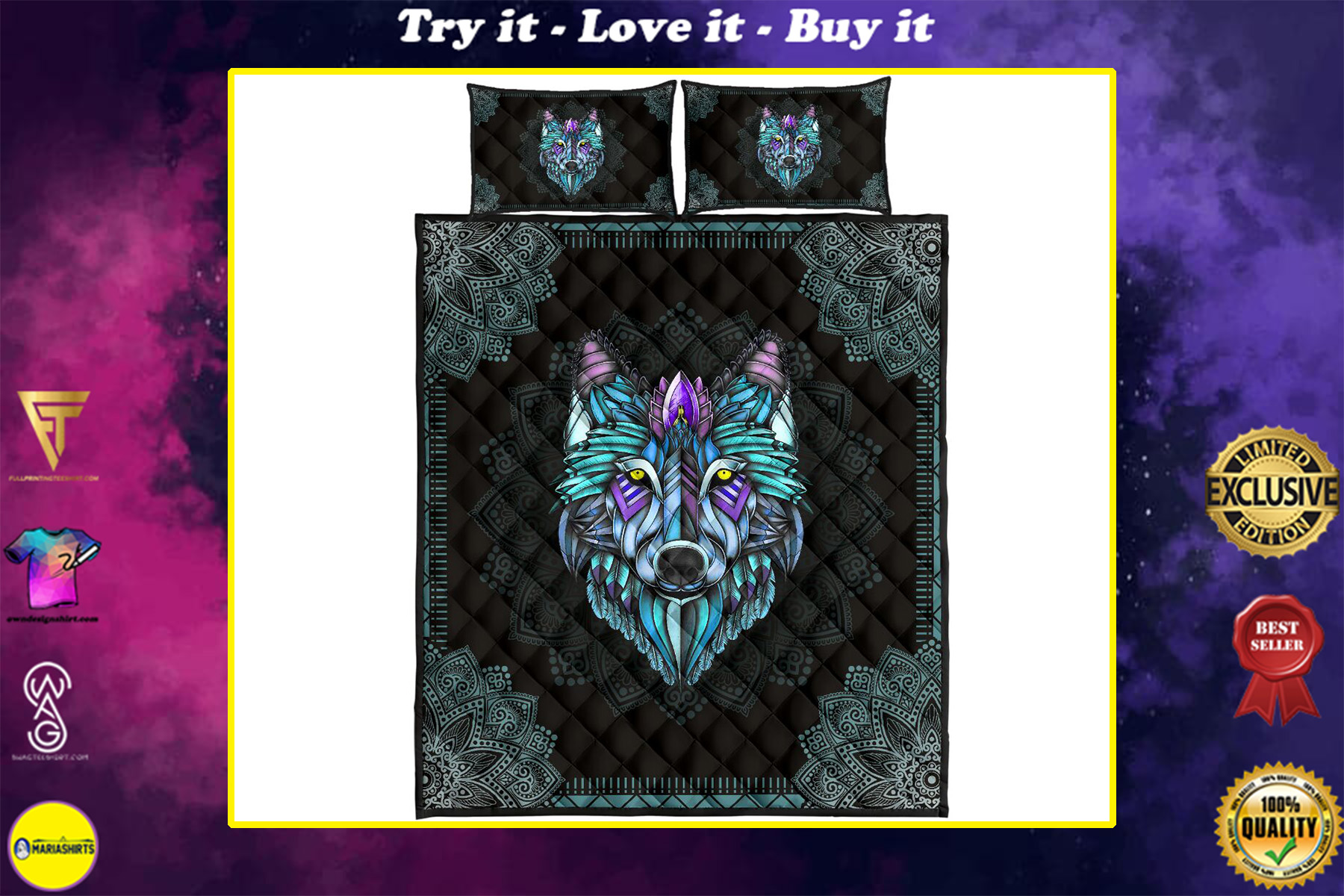 the wolf in the night mandala full over print quilt