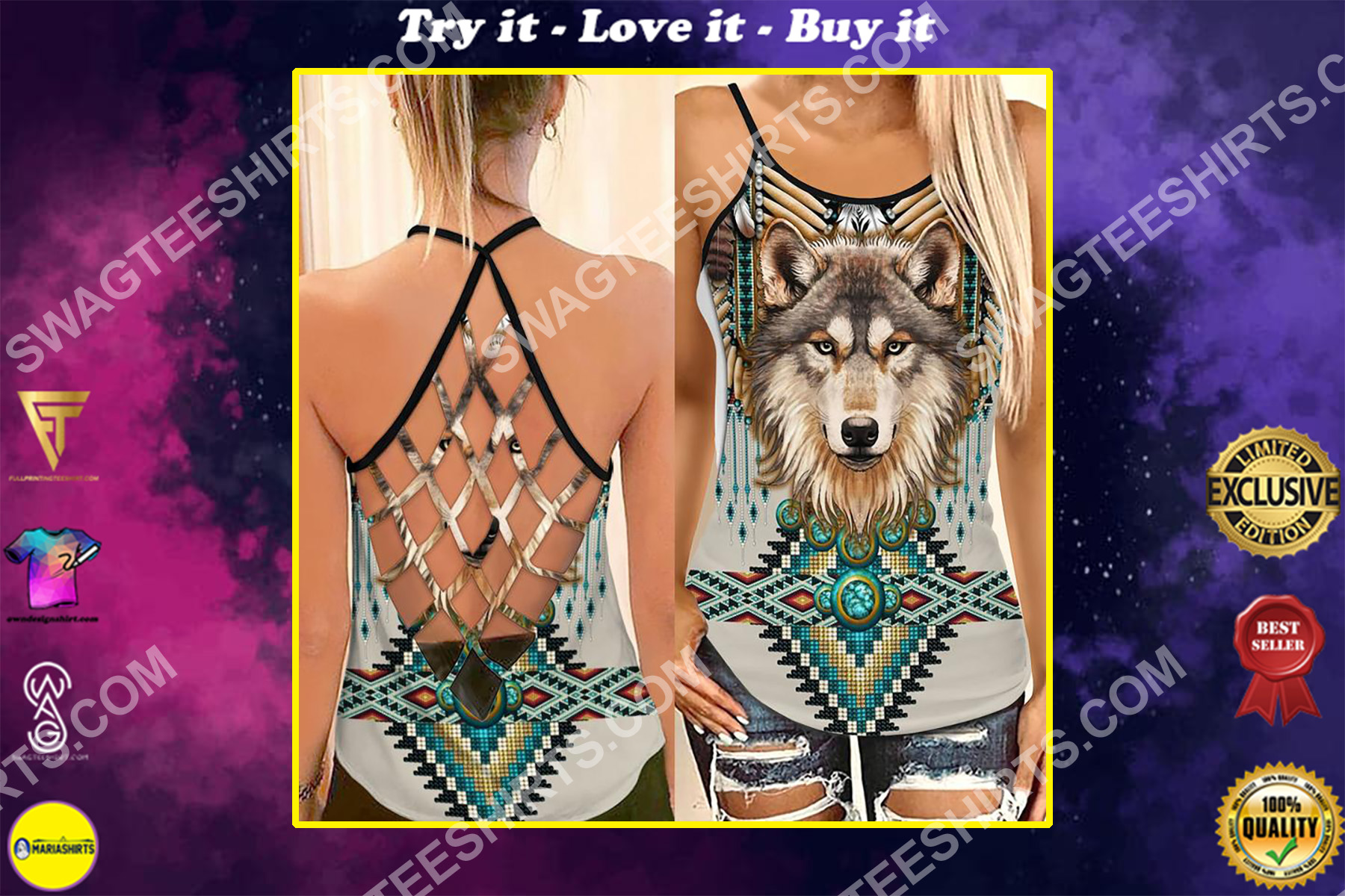 the wolf native americans symbols strappy back tank top