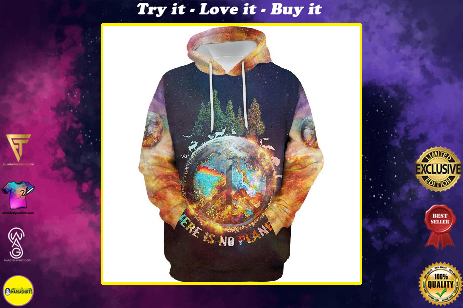 there is no planet b hippie camping all over printed shirt
