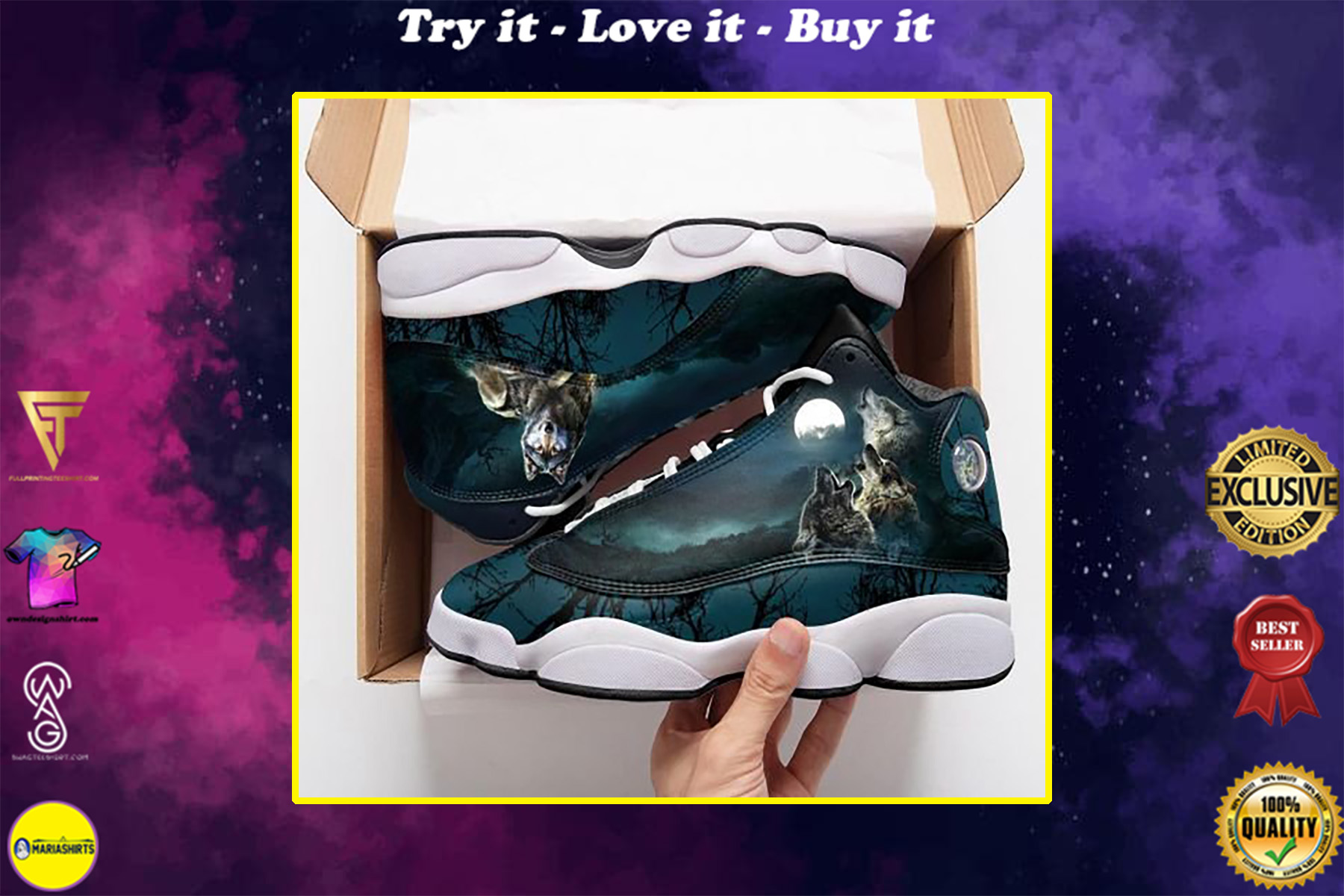 three wolf with moon all over print air jordan 13 sneakers