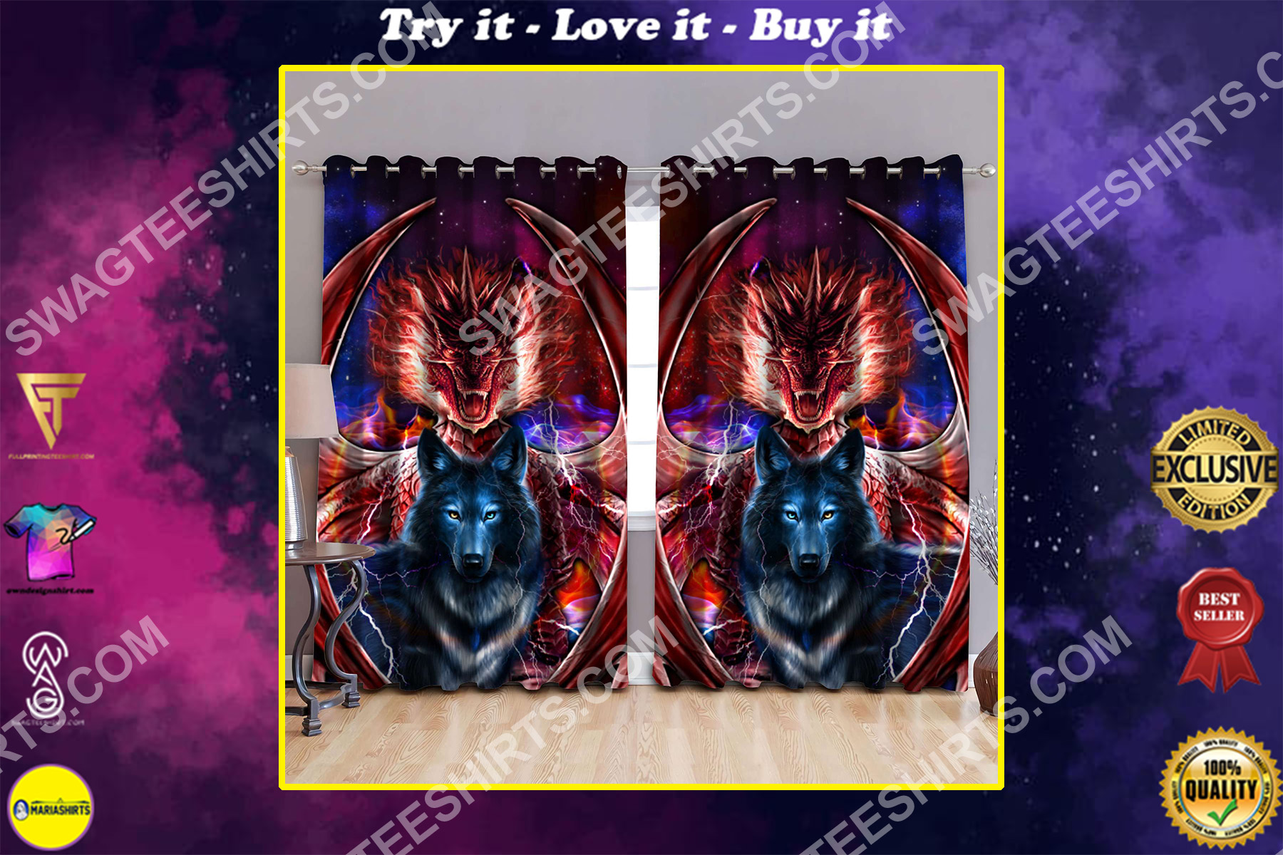 thunder and fire dragon and wolf all over printed window curtains