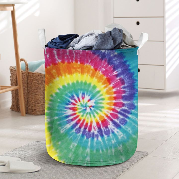 tie dye all over printed laundry basket 2