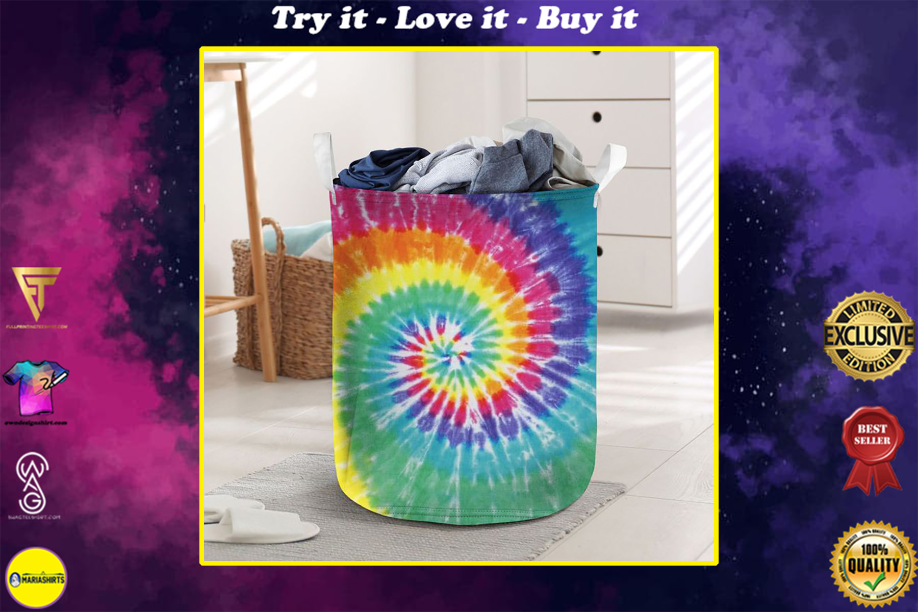 tie dye all over printed laundry basket
