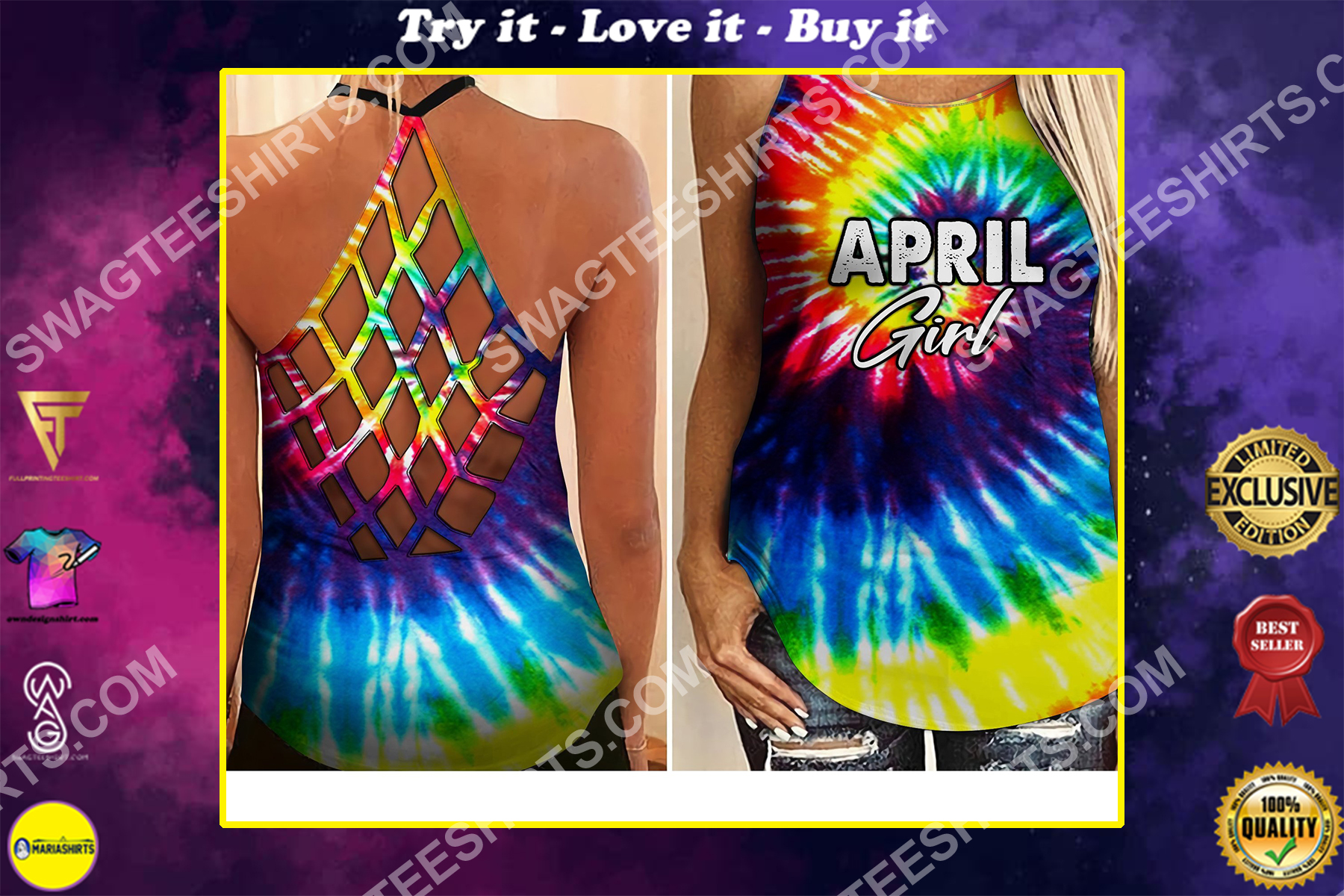tie dye april girl all over printed strappy back tank top