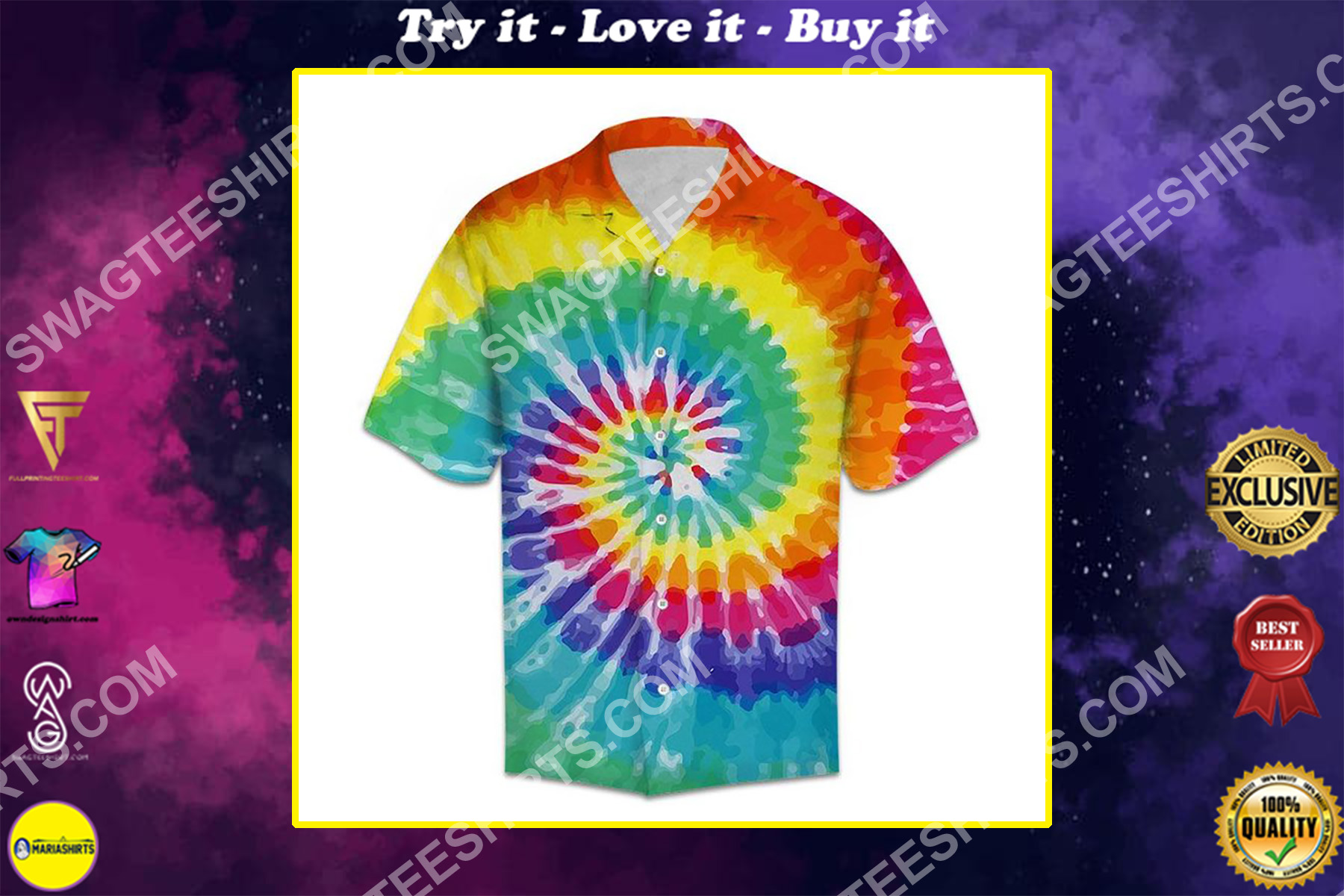 tie-dye colorful all over printed hawaiian shirt