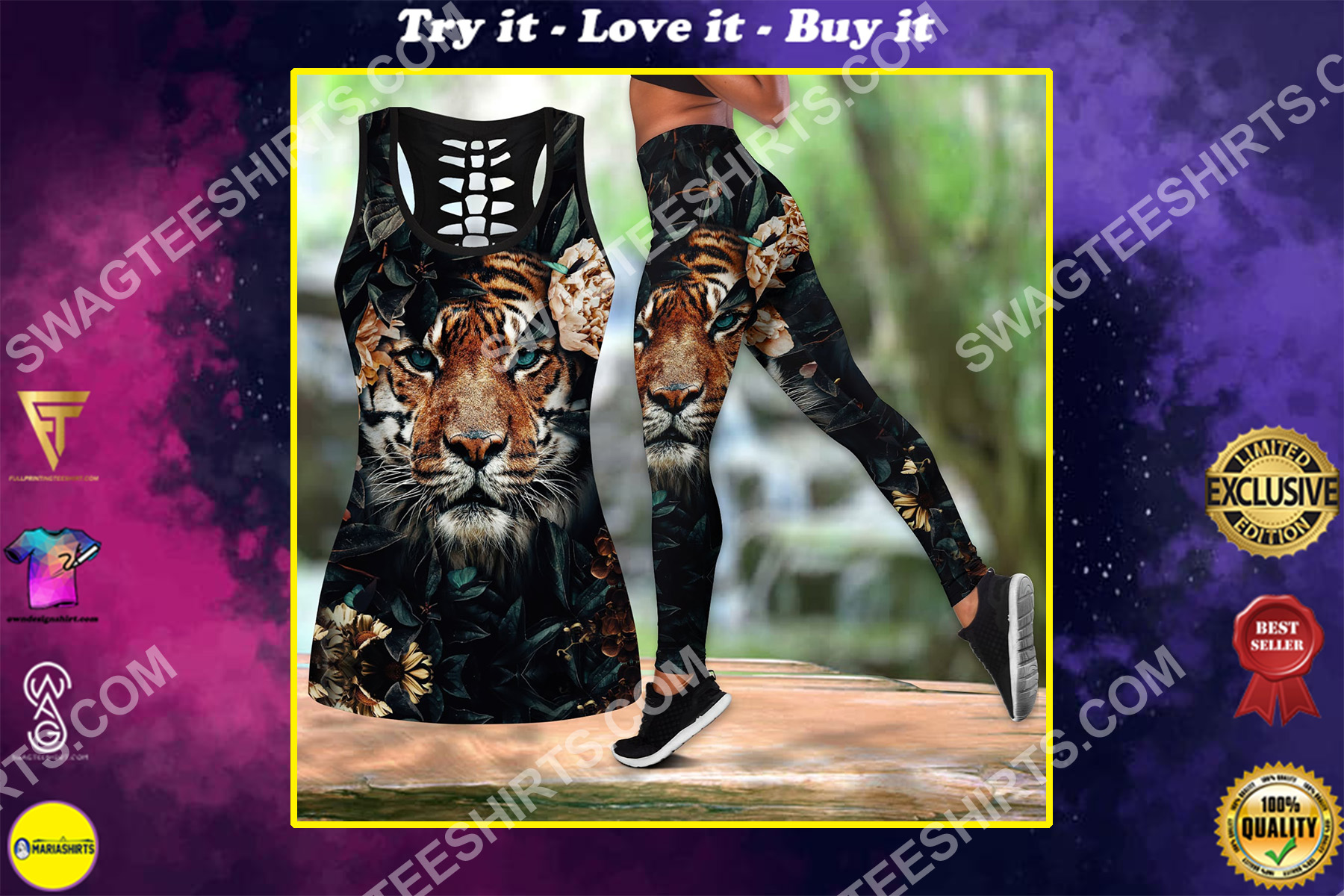 tiger with flower all over printed set sports outfit