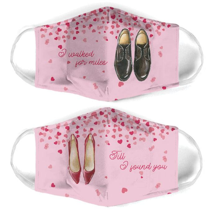 till i found you for couple love all over print face mask 3
