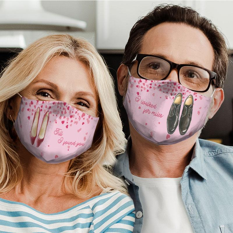 till i found you for couple love all over print face mask 4
