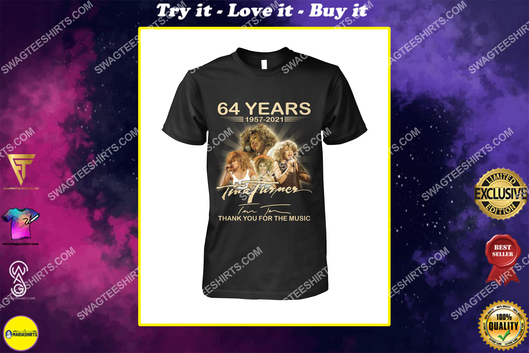 tina turner 64 years thank you for the music signature shirt