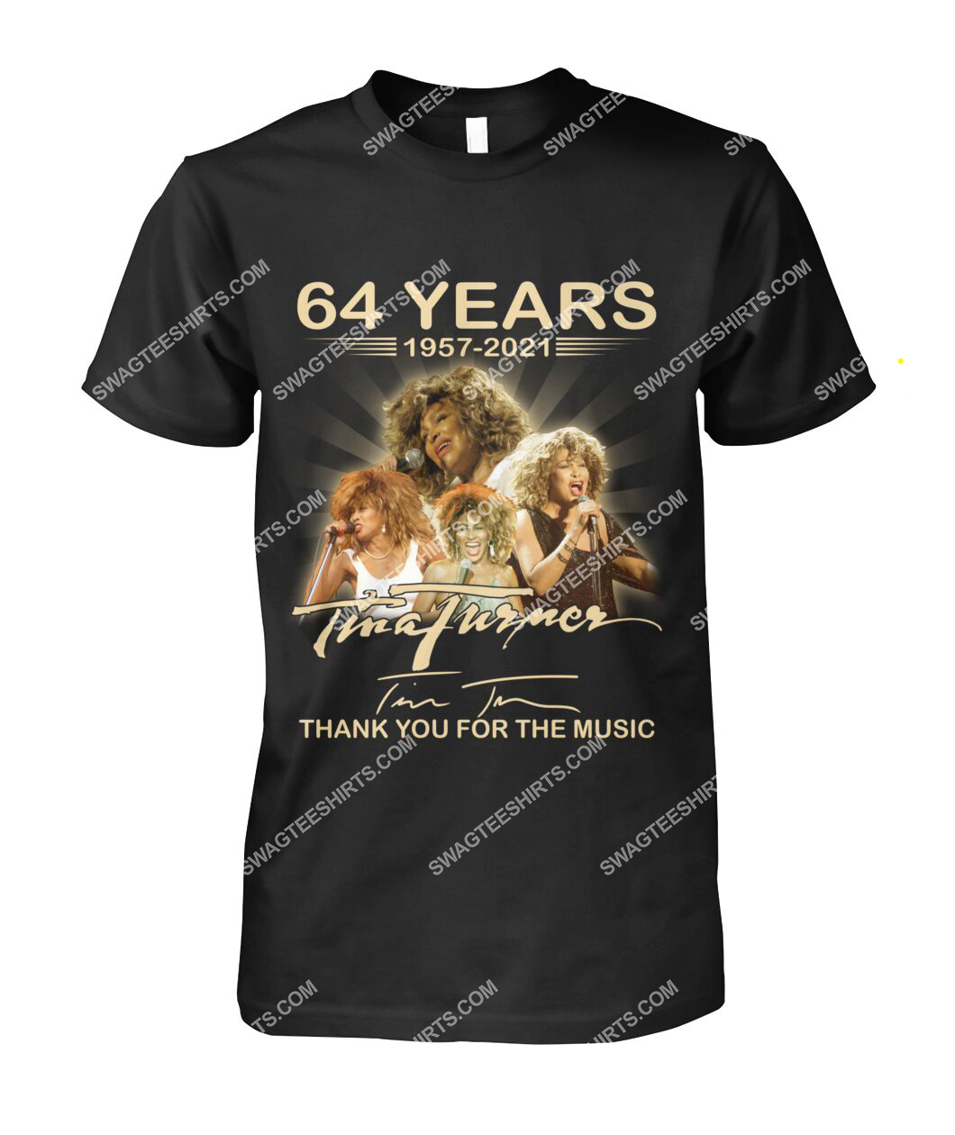 tina turner 64 years thank you for the music signature tshirt 1