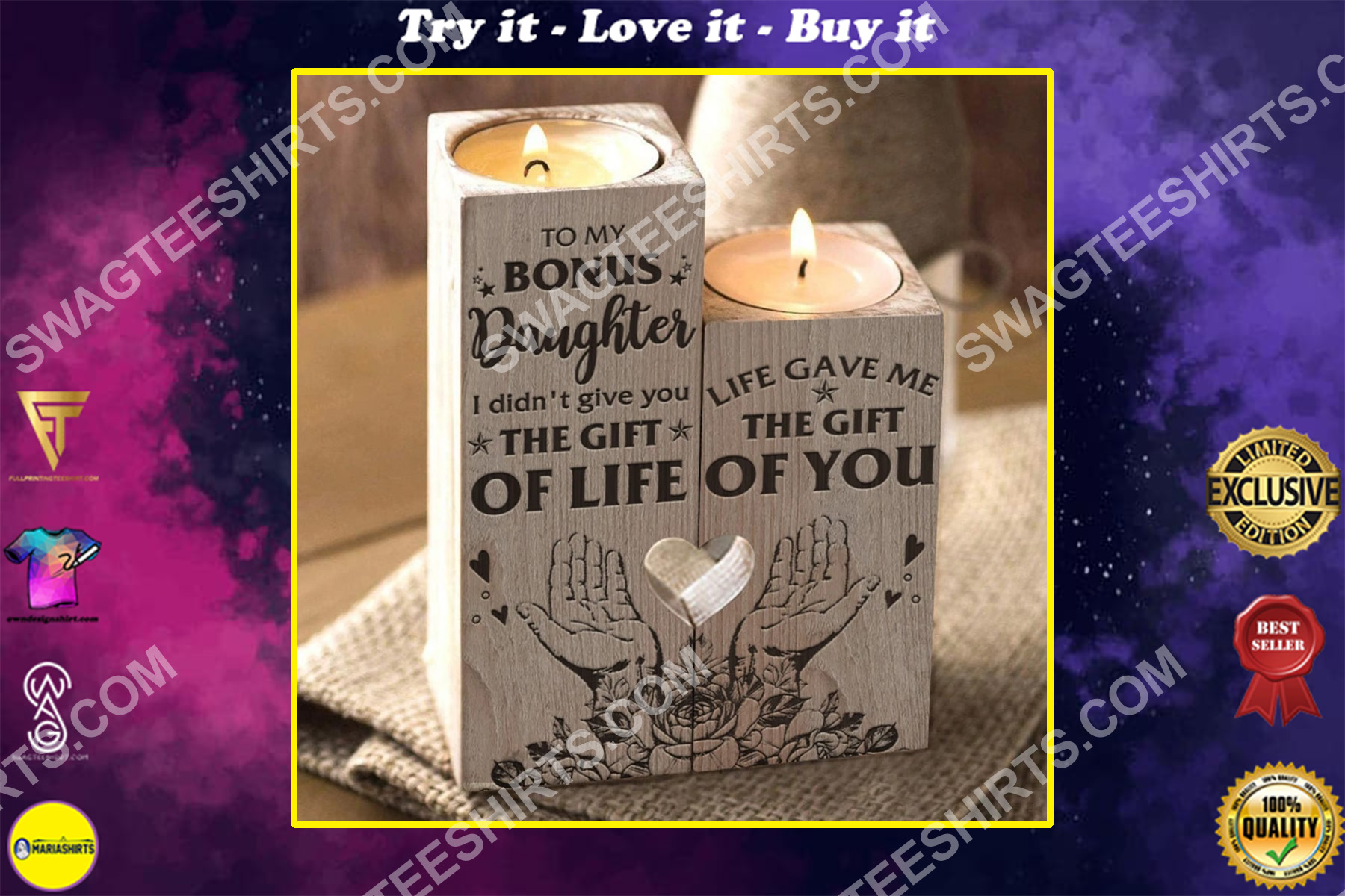 to my bonus daughter life gave me the gift of you candle holder