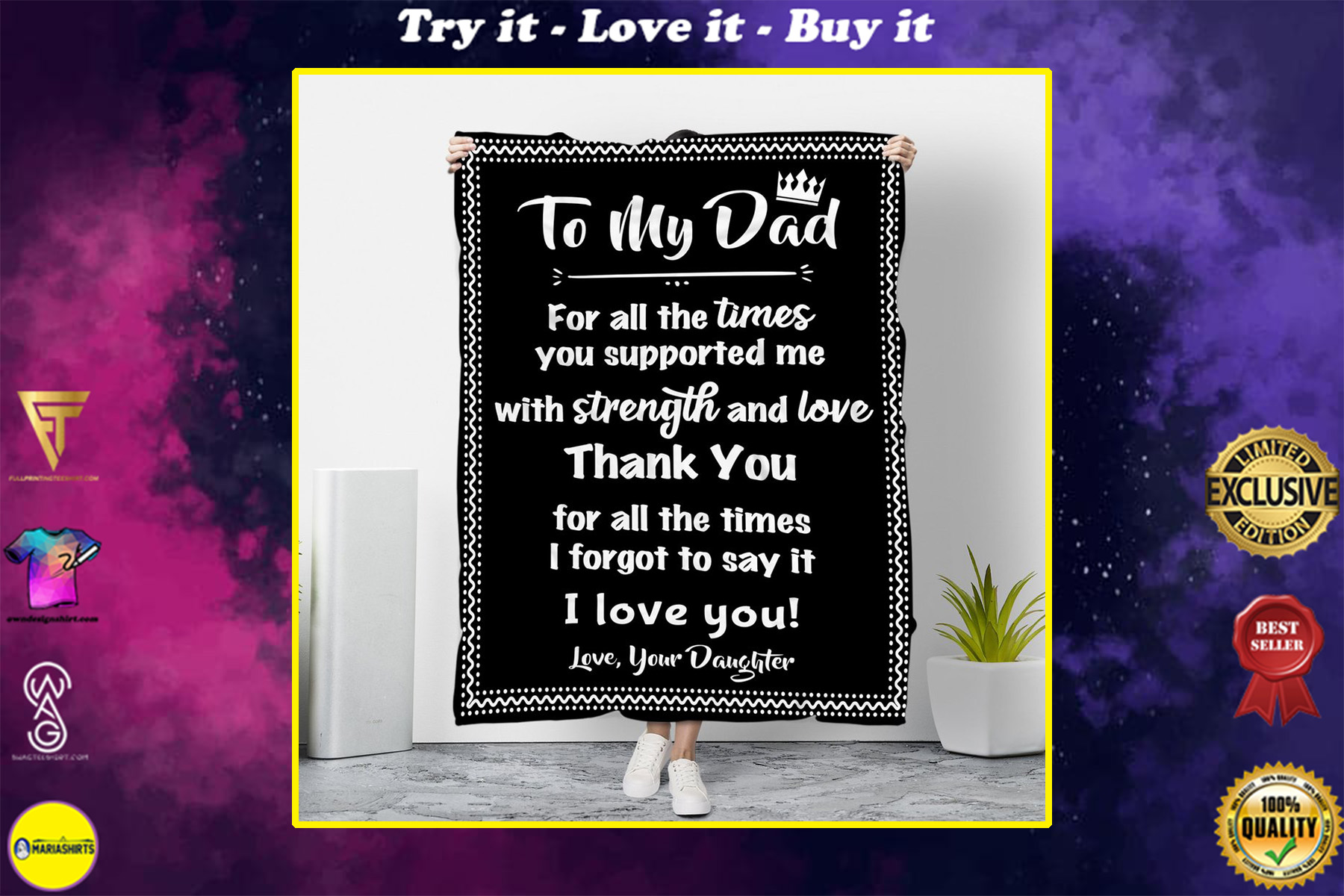 to my dad thank you for all the times love your daughter blanket