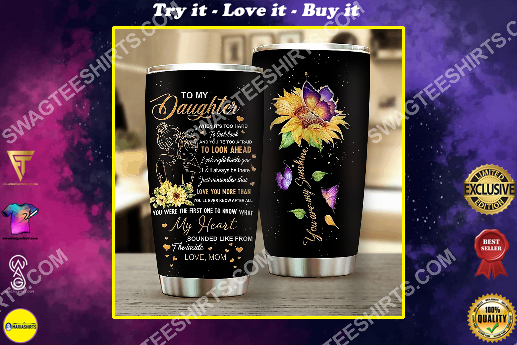 to my daughter i love you all over printed stainless steel tumbler