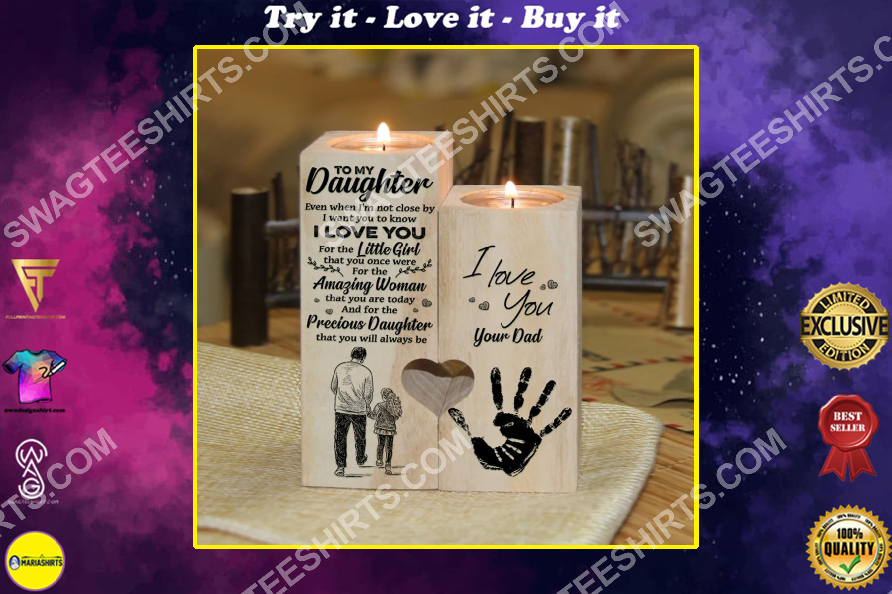 to my daughter i love you your dad candle holder