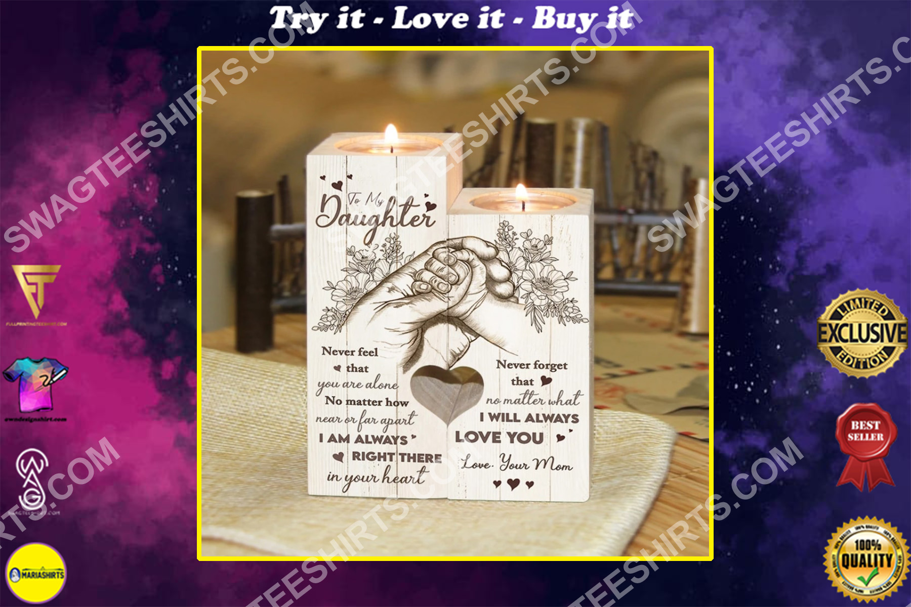 to my daughter i will always love you your mom candle holder