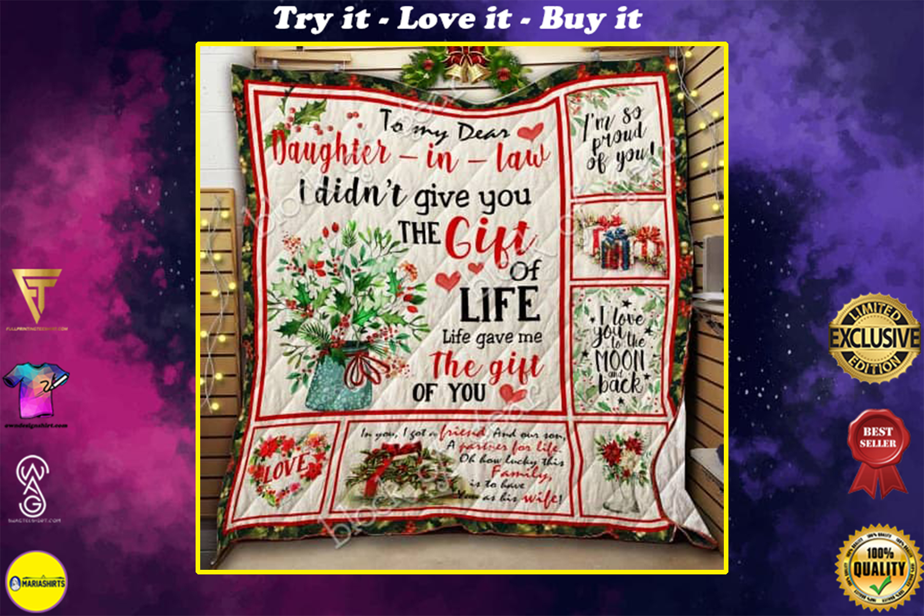 to my dear daughter in law i didnt give you a gift of life quilt