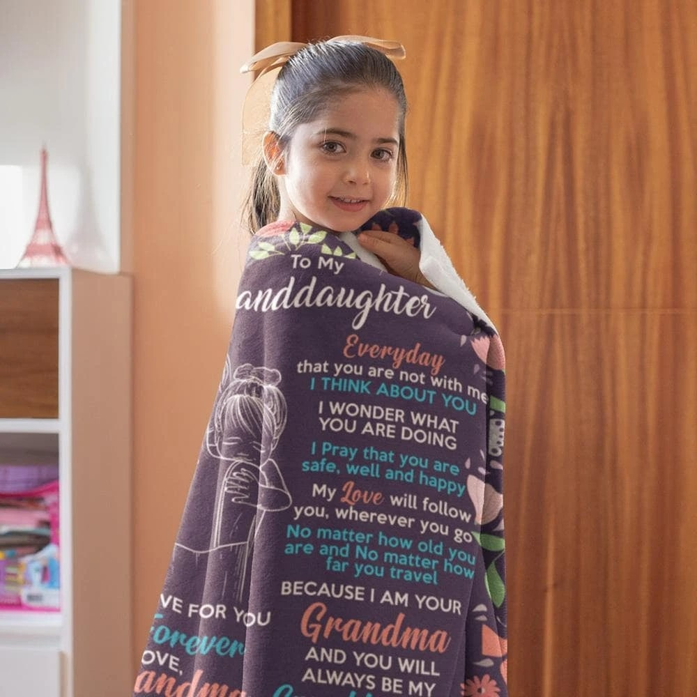 to my granddaughter my love for you is forever love grandma blanket 3