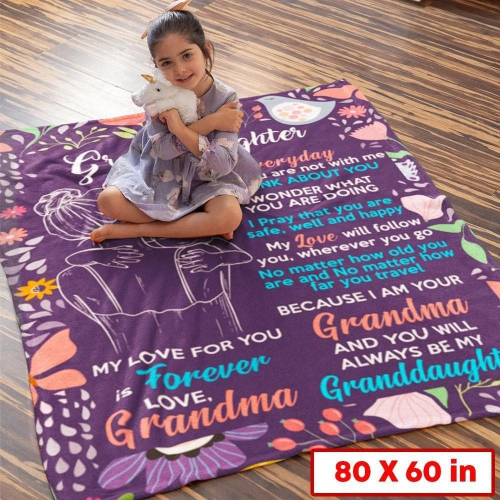 to my granddaughter my love for you is forever love grandma blanket 5