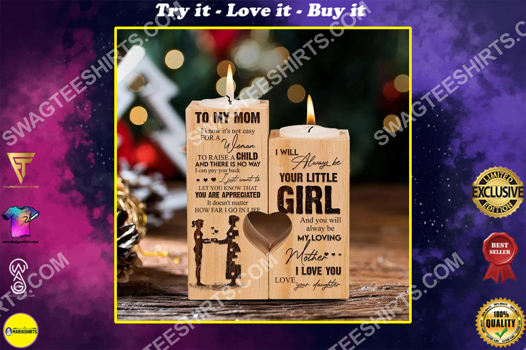 to my mom i will always be my little girl your daughter candle holder