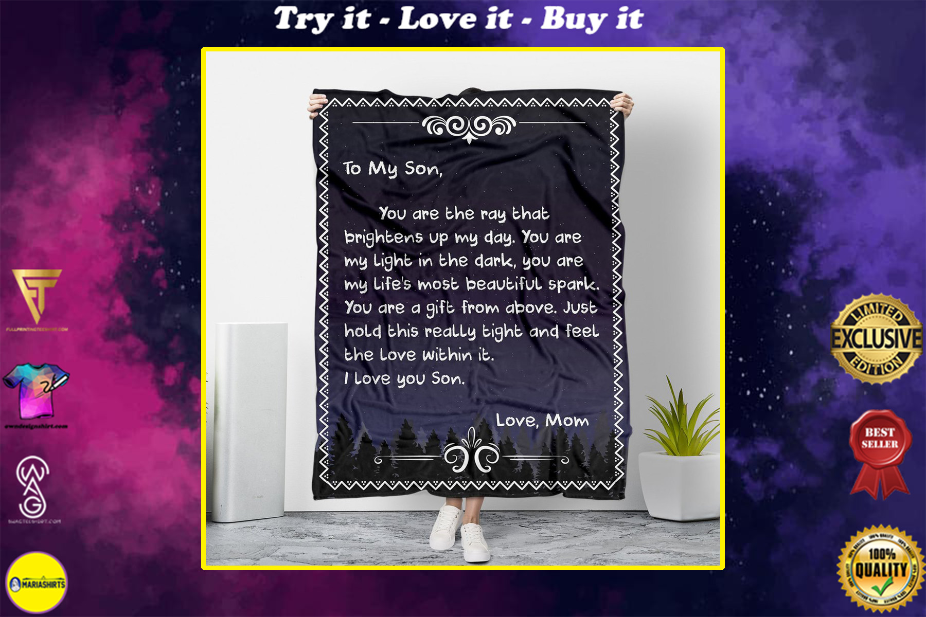 to my son you are my light in the dark love mom full printing blanket