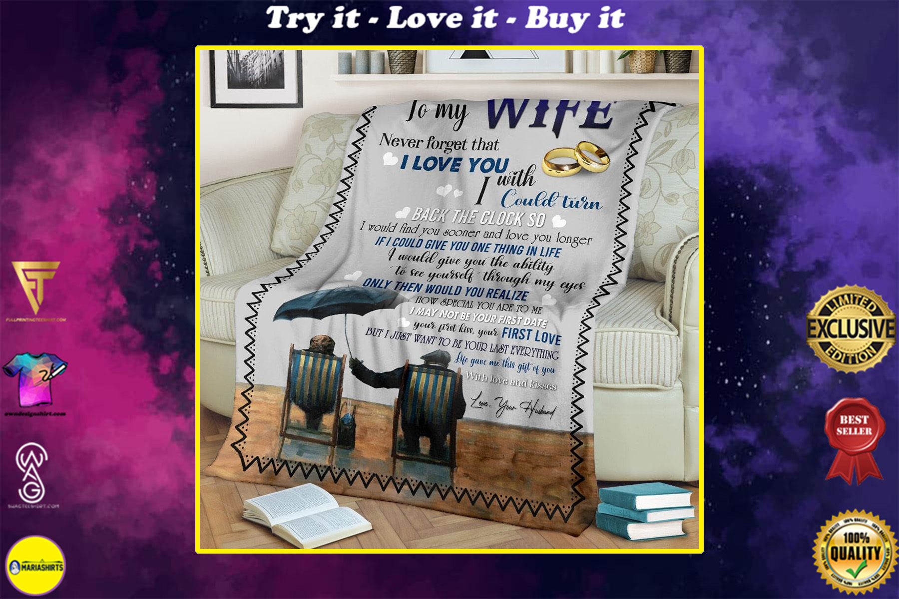 to my wife never forget that i love you with love and kisses love your husband blanket