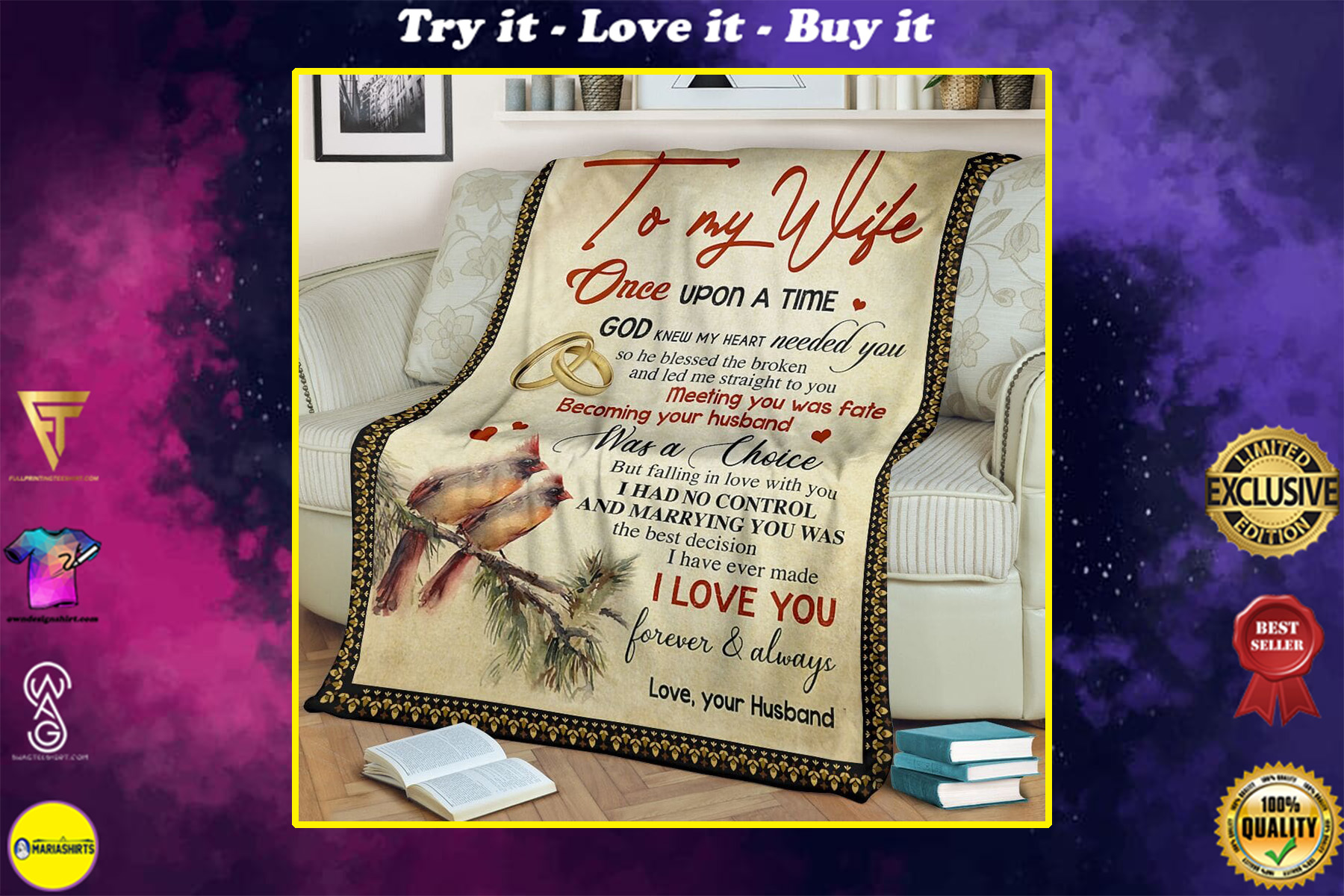 to my wife once upon a time God knew my heart needed you full printing blanket