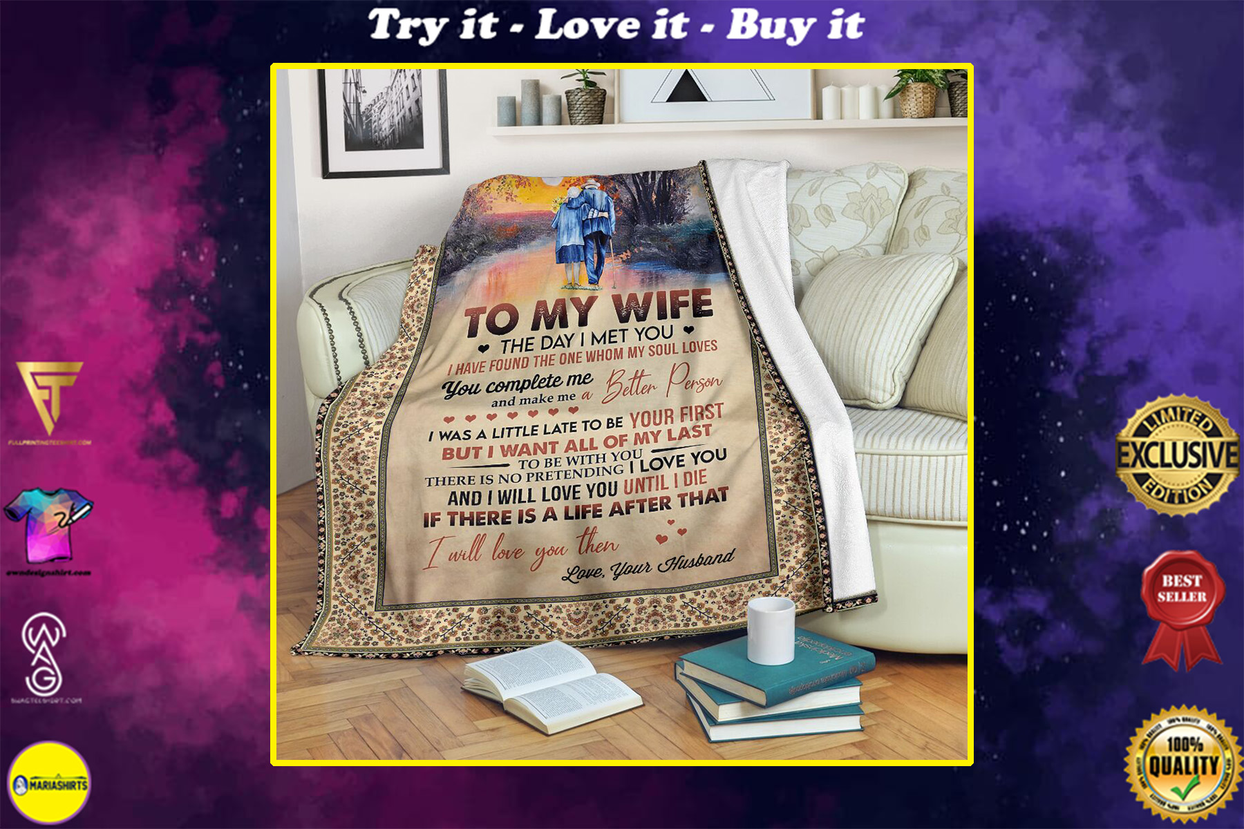to my wife the day i met you i have found the one whom my soul loves full printing blanket
