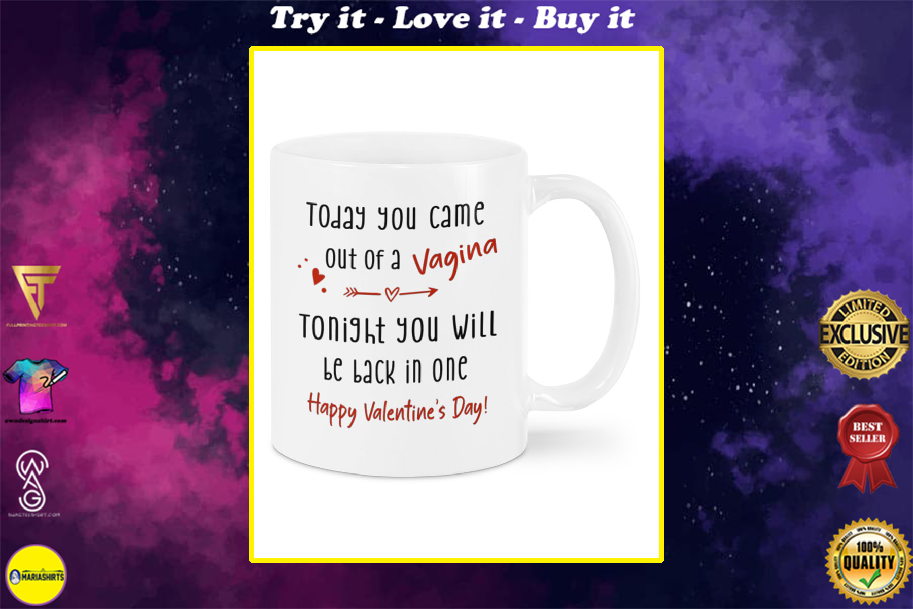 today you came out of a vagina tonight you will be back in one happy valentine's day mug