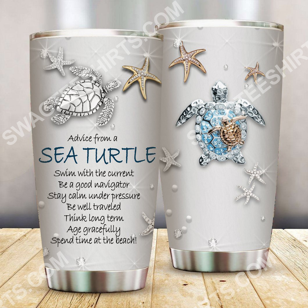 treasures and sea turtle all over printed stainless steel tumbler 2(1)