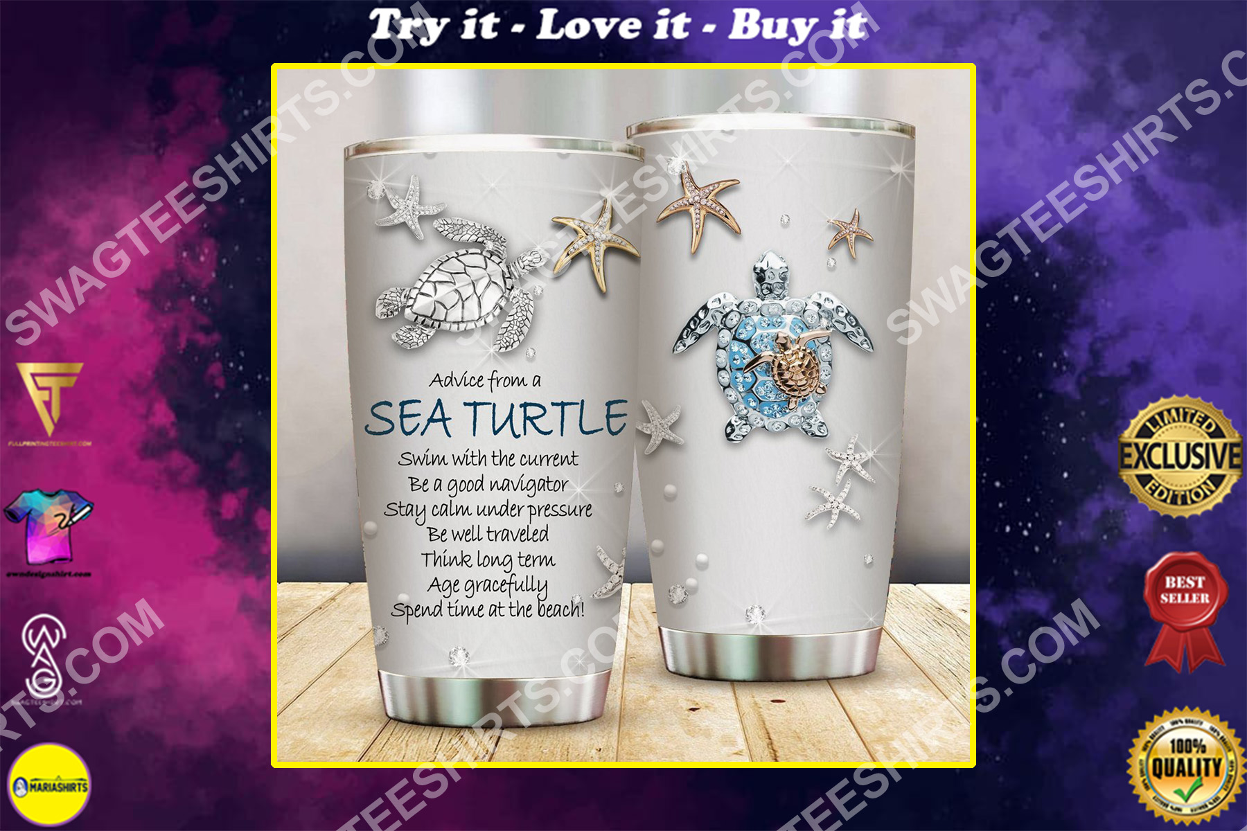 treasures and sea turtle all over printed stainless steel tumbler