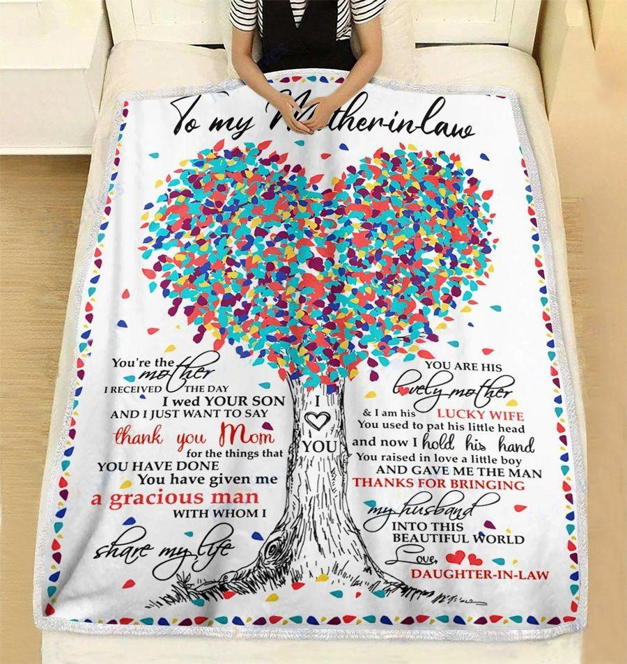 tree of love to mother-in-law thanks for bringing my husband love daughter-in-law blanket 2