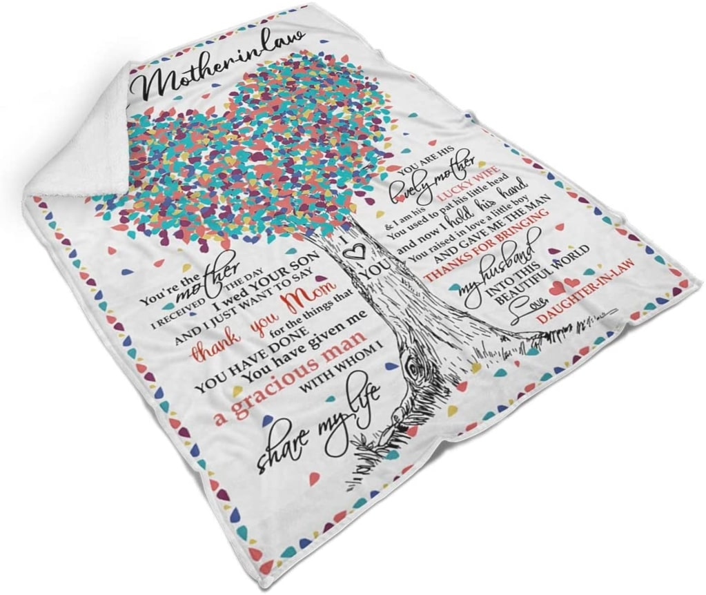 tree of love to mother-in-law thanks for bringing my husband love daughter-in-law blanket 5