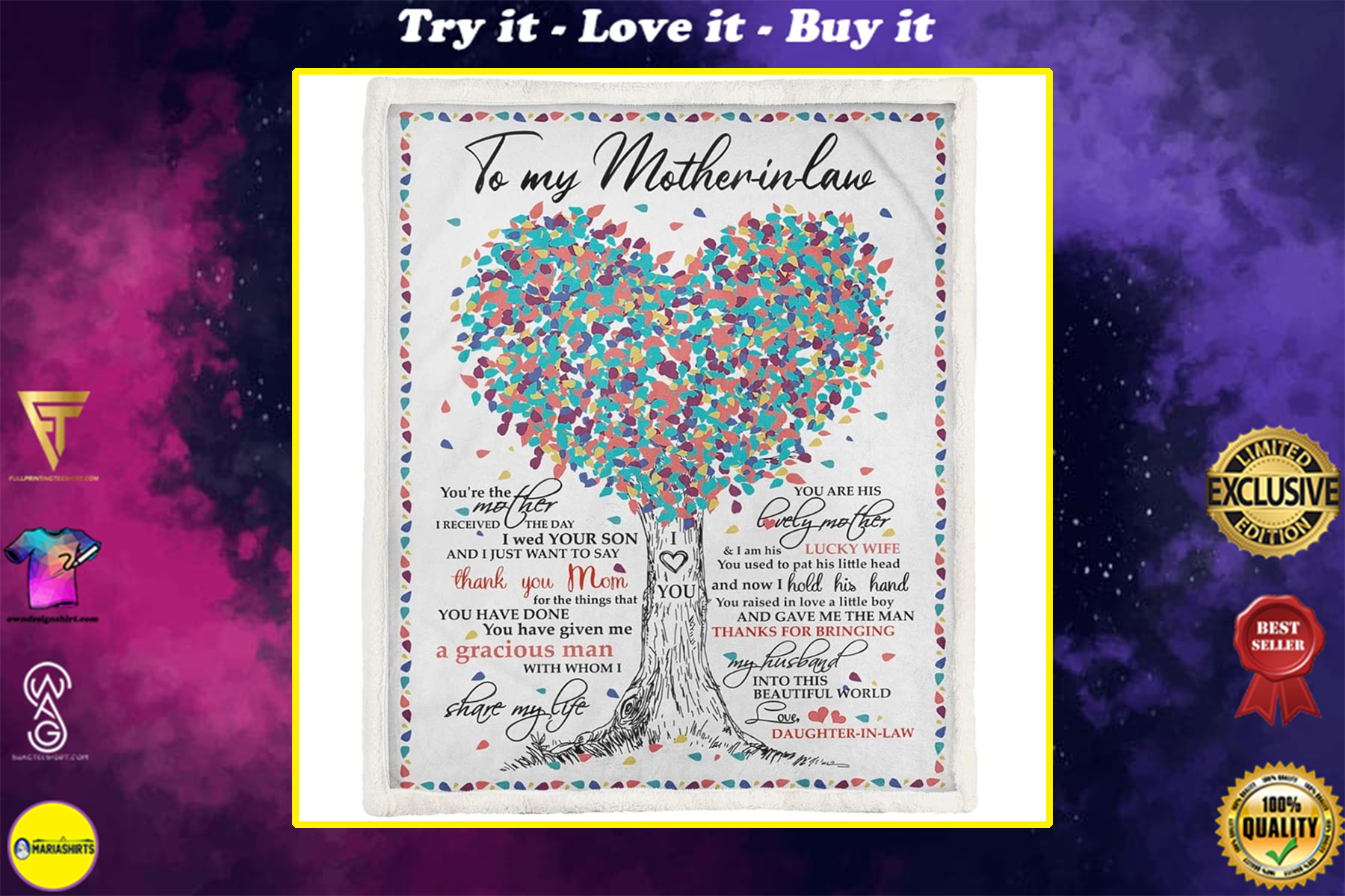 tree of love to mother-in-law thanks for bringing my husband love daughter-in-law blanket
