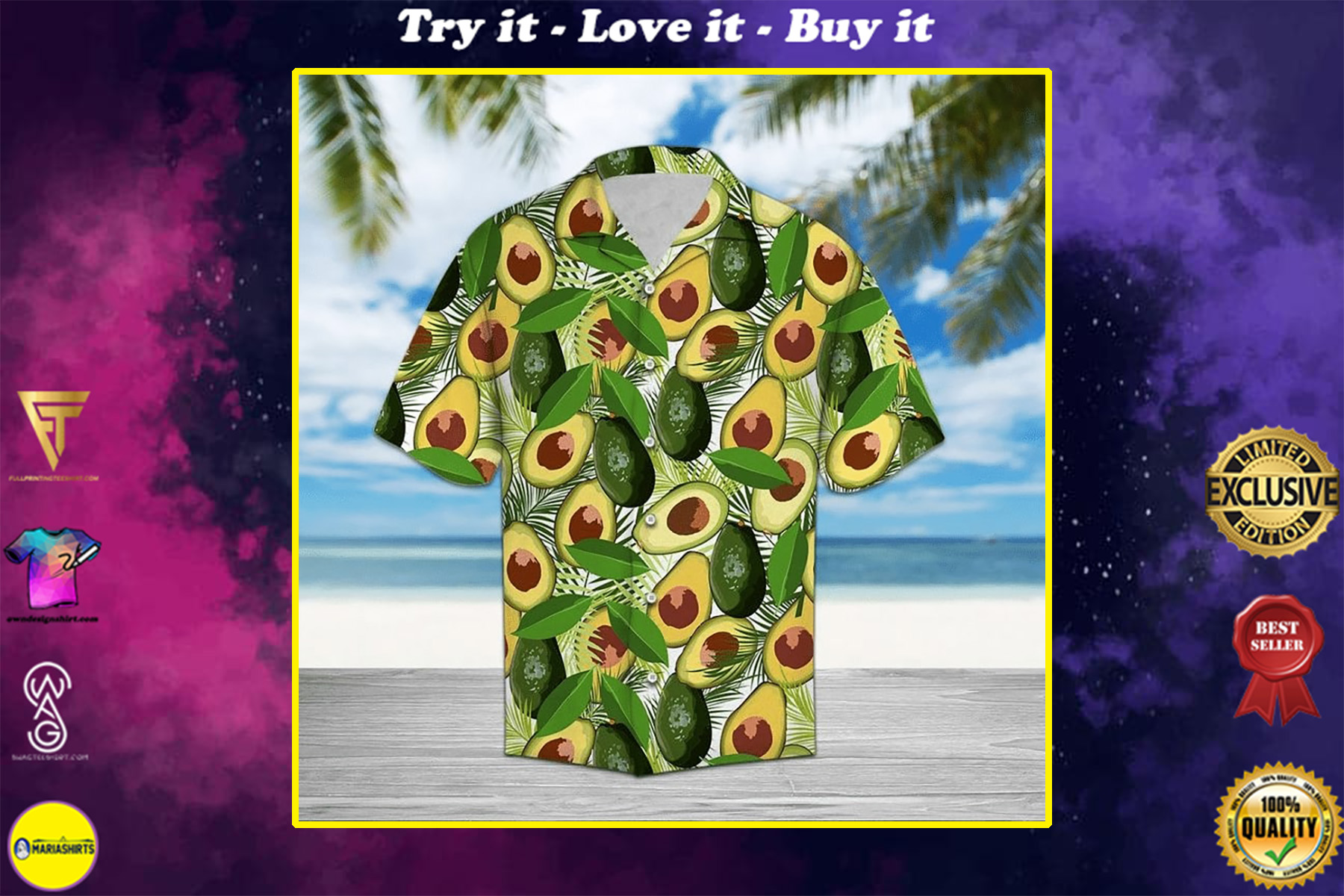 tropical avocado all over printed hawaiian shirt